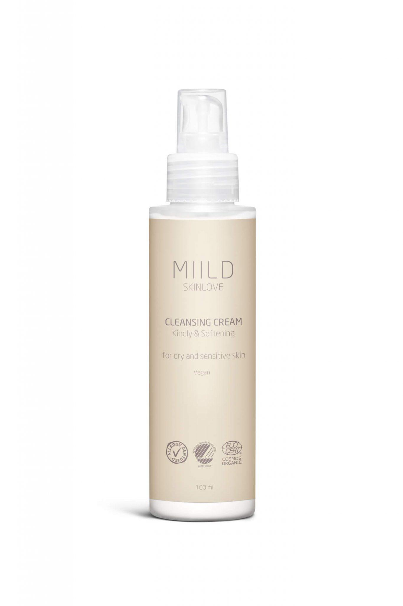 Miild Cleansing Cream er lavet på plejende og milde ingredienser, der efterlader huden renset uden at føles udtørrende.